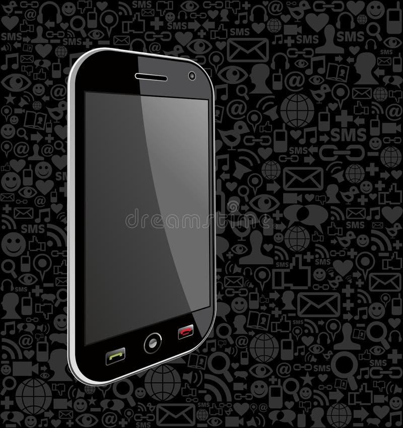 Έξυπνο υπόβαθρο εικονιδίων τηλεφωνικών δικτύων ελεύθερη απεικόνιση δικαιώματος