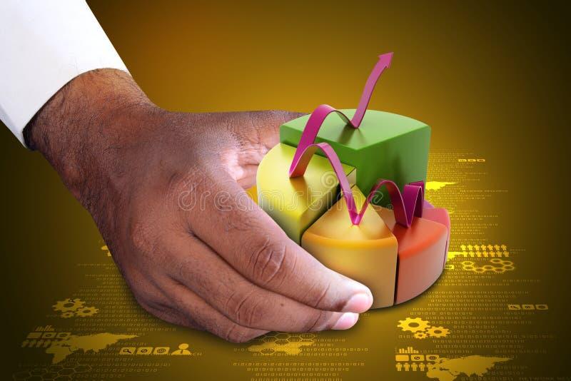Έξυπνο χέρι που παρουσιάζει διάγραμμα πιτών χρηματοδότησης με την ανάπτυξη του βέλους ελεύθερη απεικόνιση δικαιώματος