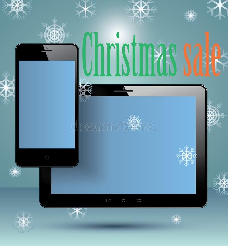 Έξυπνο χριστουγεννιάτικο δώρο τηλεφώνων και ταμπλετών. απεικόνιση αποθεμάτων