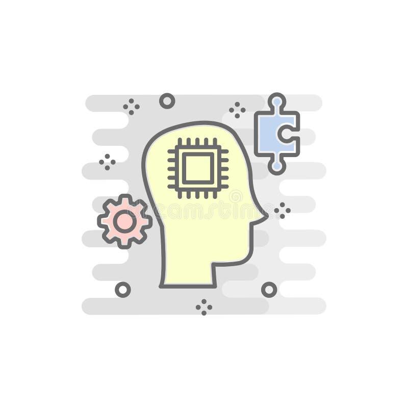 έξυπνο χρωματισμένο κεφάλι εικονίδιο Στοιχείο του χρωματισμένου έξυπνου εικονιδίου τεχνολογίας για την κινητούς έννοια και τον Ισ ελεύθερη απεικόνιση δικαιώματος