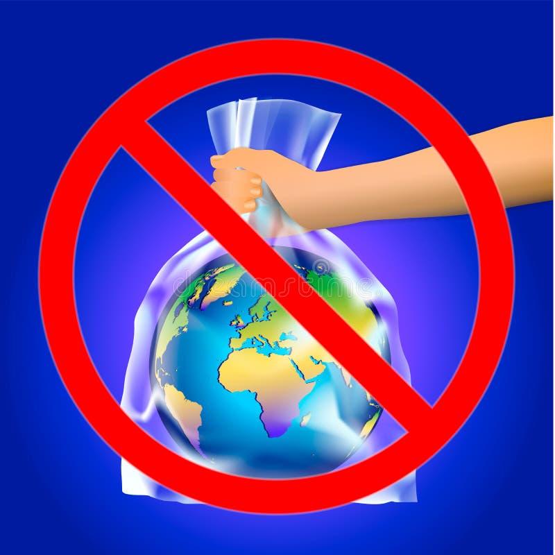 Έξω κόκκινο σημάδι του σταυρού κύκλων ή απαγόρευσης σε ετοιμότητα των mam που κρατά το πλανήτη Γη στη διαφανή πλαστική τσάντα σε  ελεύθερη απεικόνιση δικαιώματος