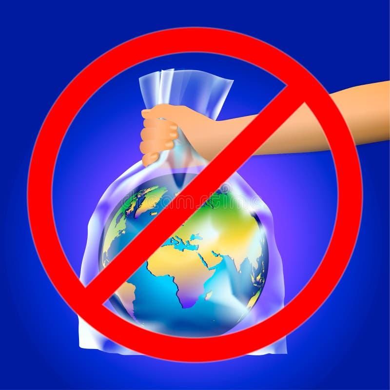 Έξω κόκκινο σημάδι του σταυρού κύκλων ή απαγόρευσης σε ετοιμότητα του προσώπου που κρατά το πλανήτη Γη σε μια διαφανή πλαστική τσ διανυσματική απεικόνιση