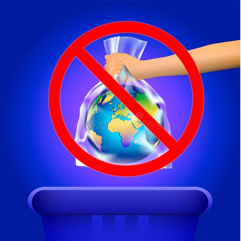 Έξω κόκκινο σημάδι του σταυρού κύκλων ή απαγόρευσης σε ετοιμότητα του προσώπου που ρίχνει το πλανήτη Γη στη διαφανή πλαστική τσάν διανυσματική απεικόνιση