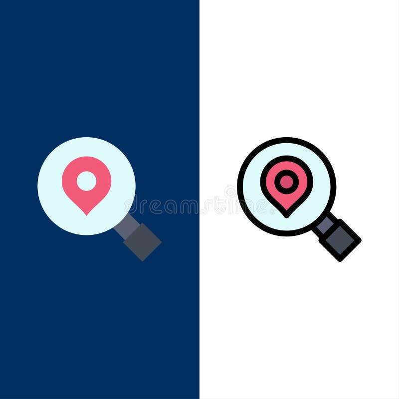 Έρευνα, αναζήτηση, χάρτης, εικονίδια θέσης Επίπεδος και γραμμή γέμισε το καθορισμένο διανυσματικό μπλε υπόβαθρο εικονιδίων ελεύθερη απεικόνιση δικαιώματος