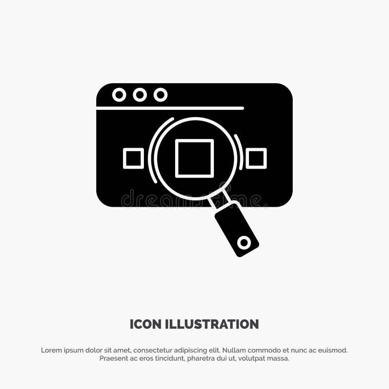 Έρευνα, αναλυτική, Analytics, στοιχεία, πληροφορίες, αναζήτηση, στερεό διάνυσμα εικονιδίων Glyph Ιστού διανυσματική απεικόνιση
