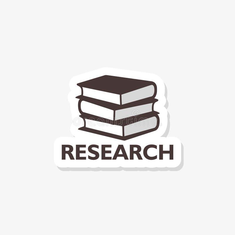 Έρευνα με το εικονίδιο αυτοκόλλητων ετικεττών βιβλίων στο καθιερώνον τη μόδα ύφος σχεδίου απεικόνιση αποθεμάτων
