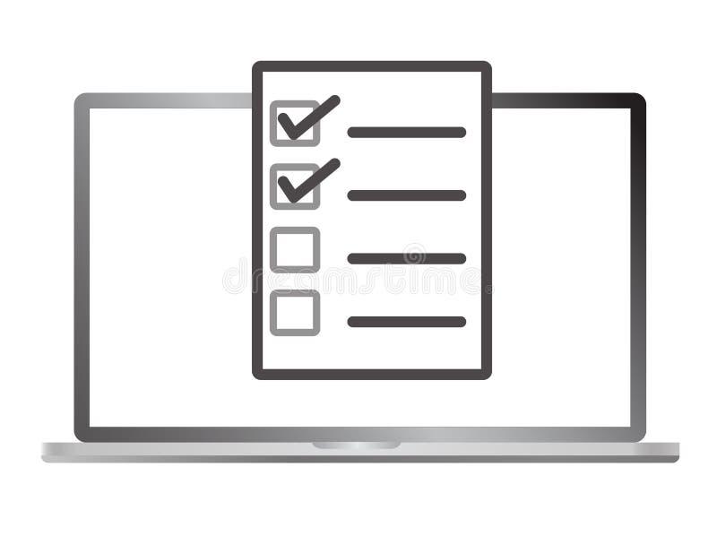 Έρευνα στο lap-top που απομονώνεται στο άσπρο υπόβαθρο Σε απευθείας σύνδεση εικονίδιο μορφής ελεύθερη απεικόνιση δικαιώματος