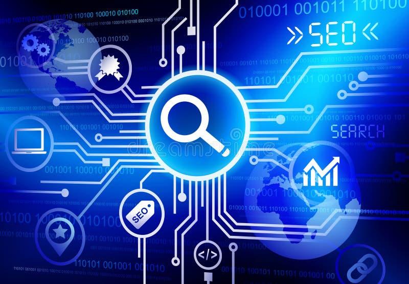 Έρευνα της έννοιας λογισμικού ξεφυλλίσματος ανάλυσης παγκοσμιοποίησης SEO διανυσματική απεικόνιση