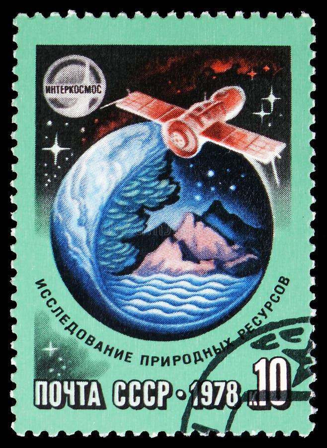 Έρευνα των φυσικών πόρων, διεθνής διαστημική συνεργασία serie, circa 1978 στοκ εικόνες