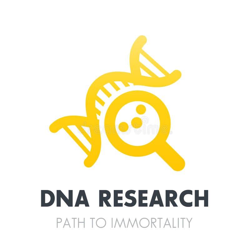 Έρευνα DNA, εικονίδιο γενετικής πέρα από το λευκό διανυσματική απεικόνιση