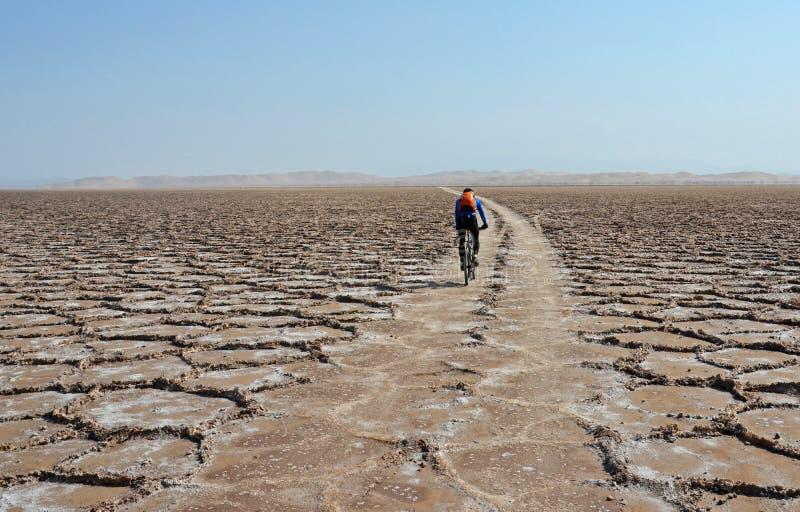 Έρημος Biking στο αλατισμένο επίπεδο στοκ φωτογραφίες