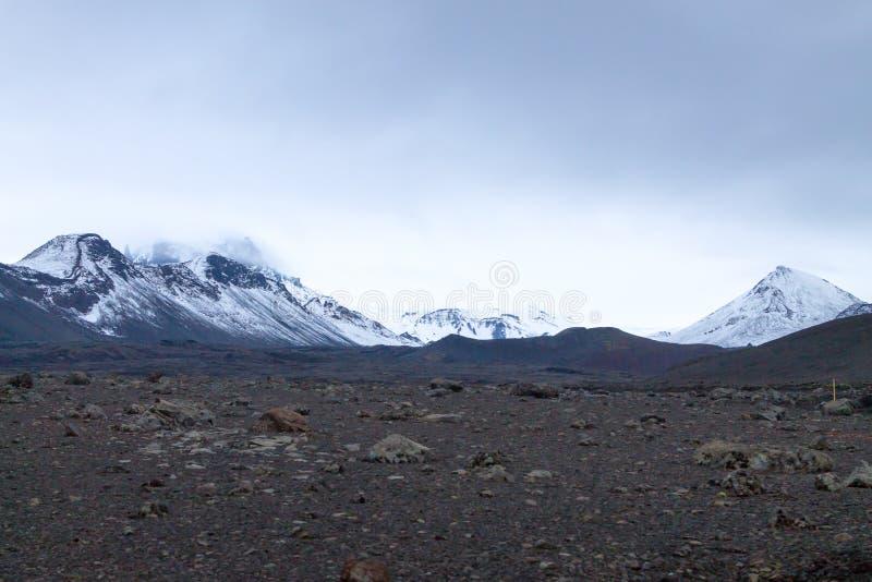 Έρημο τοπίο από caldera Askja την περιοχή, Ισλανδία στοκ εικόνα