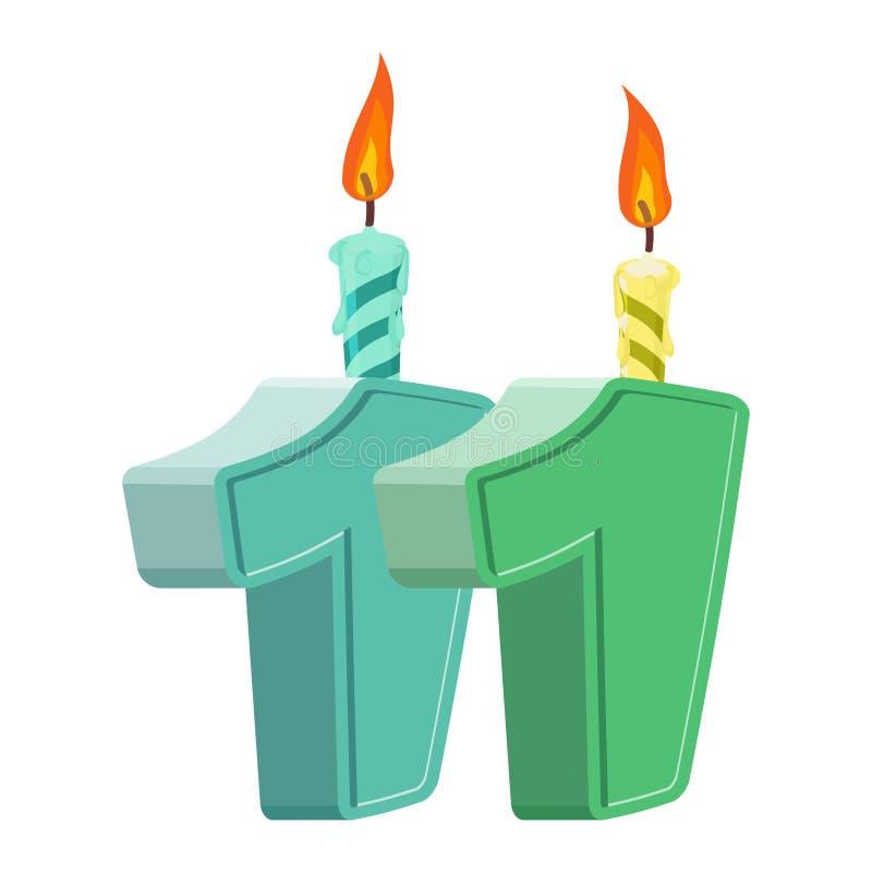 11 έτη γενεθλίων Αριθμός με το εορταστικό κερί για το κέικ διακοπών απεικόνιση αποθεμάτων