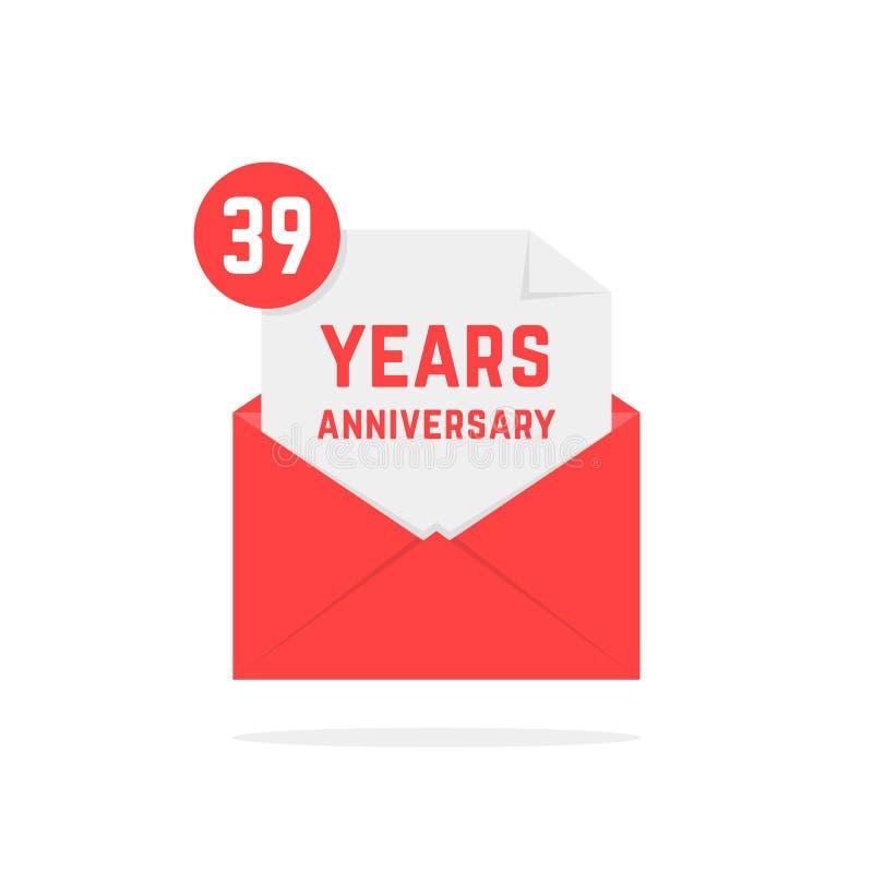 39 έτη εικονιδίων επετείου στο κόκκινο ανοιχτό γράμμα ελεύθερη απεικόνιση δικαιώματος