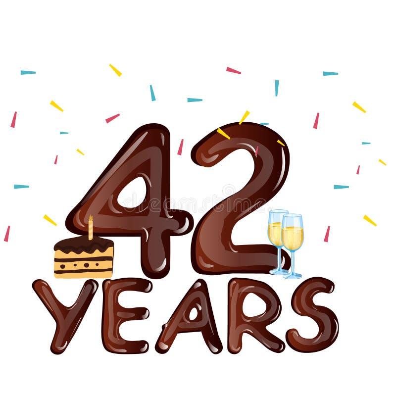 42 έτη εορτασμού επετείου με το κέικ απεικόνιση αποθεμάτων