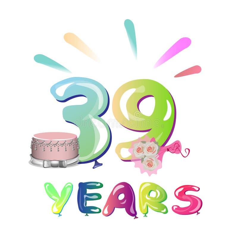 39 έτη εορτασμού επετείου διανυσματική απεικόνιση