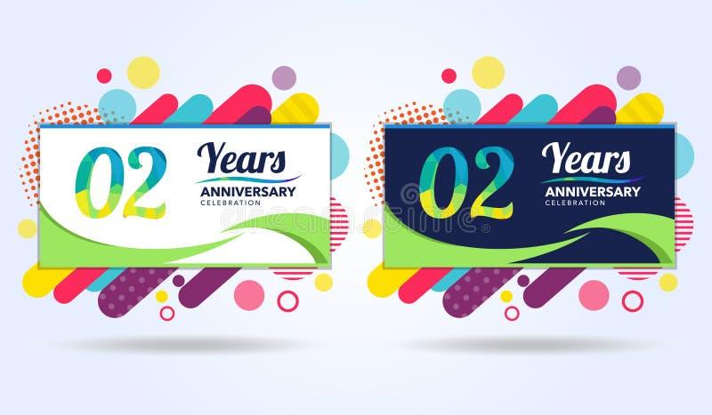 02 έτη επετείου με τα σύγχρονα τετραγωνικά στοιχεία σχεδίου, ζωηρόχρωμη έκδοση, σχέδιο προτύπων εορτασμού, λαϊκό πρότυπο εορτασμο απεικόνιση αποθεμάτων