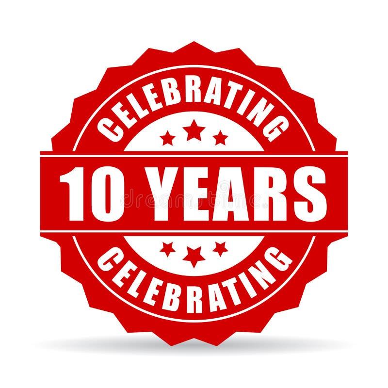 10 έτη επετείου που γιορτάζει το διανυσματικό εικονίδιο διανυσματική απεικόνιση
