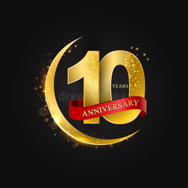 10 έτη επετείου Το σχέδιο με το αραβικό χρυσό, χρυσό μισό φεγγάρι και ακτινοβολεί απεικόνιση αποθεμάτων