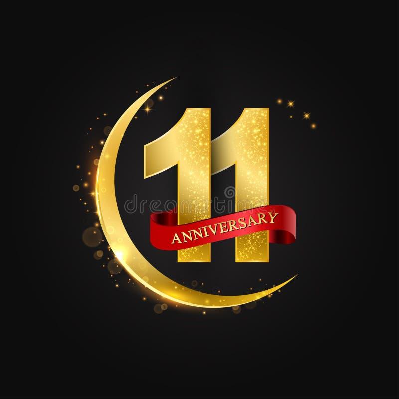 11 έτη επετείου Το σχέδιο με το αραβικό χρυσό, χρυσό μισό φεγγάρι και ακτινοβολεί απεικόνιση αποθεμάτων