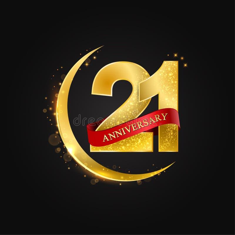 21 έτη επετείου Το σχέδιο με το αραβικό χρυσό, χρυσό μισό φεγγάρι και ακτινοβολεί διανυσματική απεικόνιση