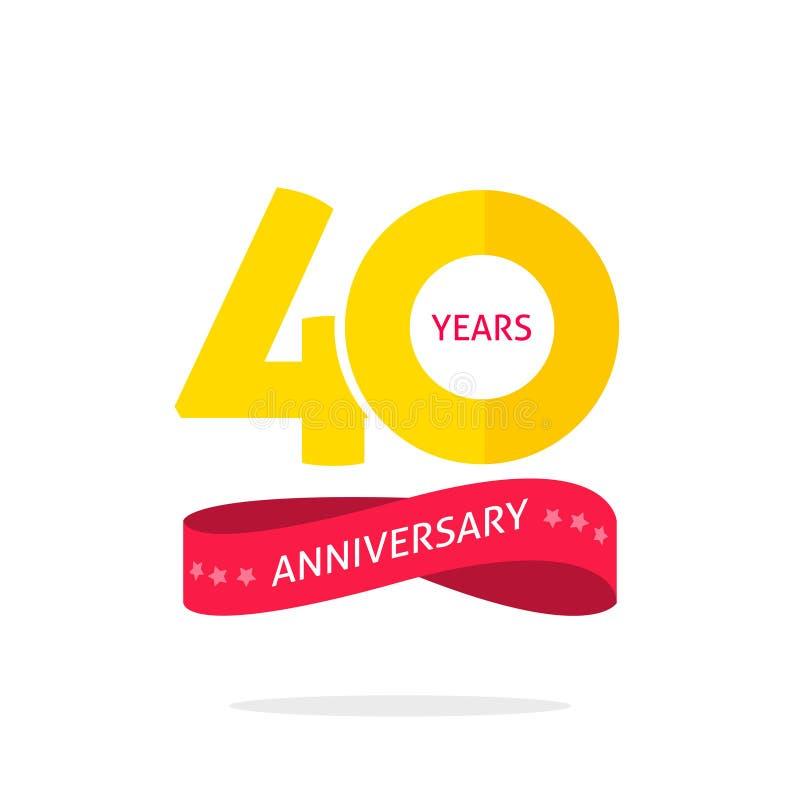 40 έτη λογότυπων επετείου, 40η ετικέτα εικονιδίων επετείου με την κορδέλλα ελεύθερη απεικόνιση δικαιώματος