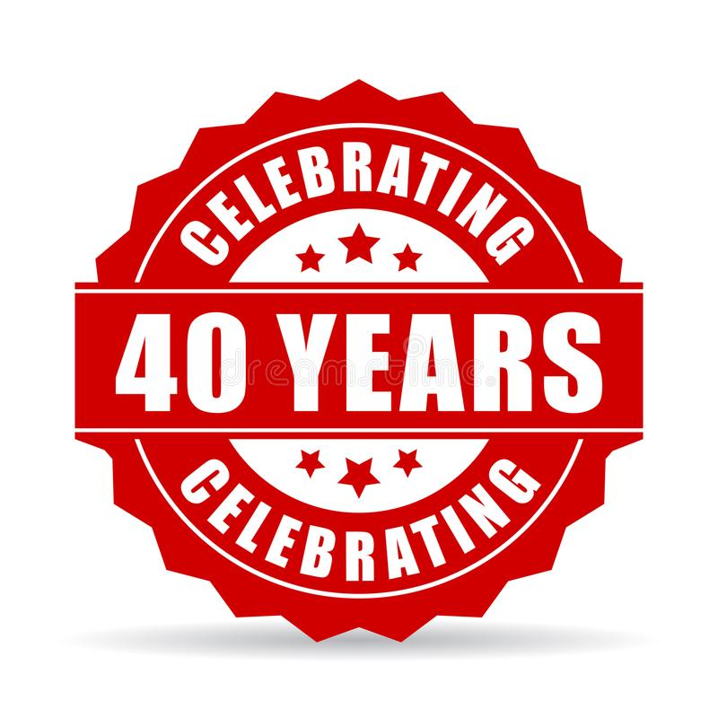 40 έτη που γιορτάζουν το διανυσματικό εικονίδιο διανυσματική απεικόνιση