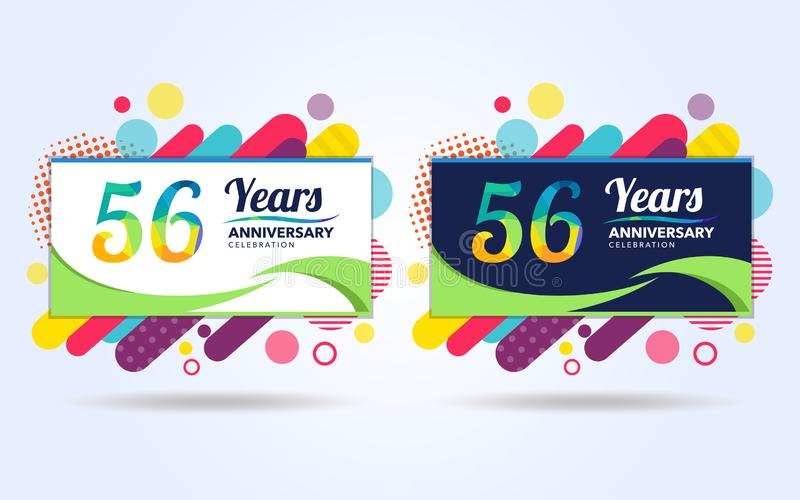 56 έτη σκάουν τα στοιχεία σύγχρονου σχεδίου επετείου, ζωηρόχρωμη έκδοση, σχέδιο προτύπων εορτασμού, λαϊκό σχέδιο προτύπων εορτασμ ελεύθερη απεικόνιση δικαιώματος