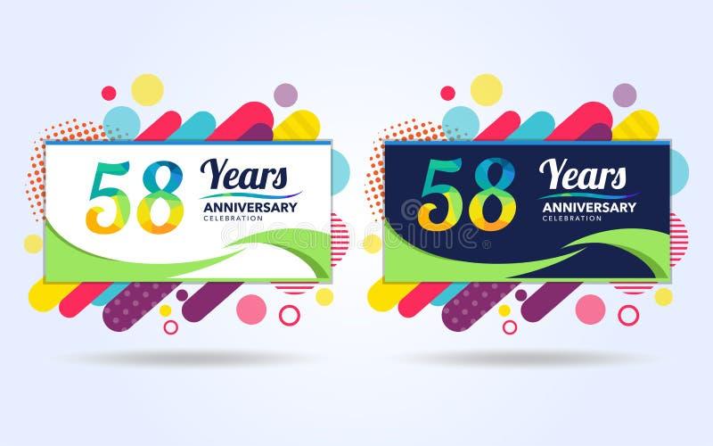 58 έτη σκάουν τα στοιχεία σύγχρονου σχεδίου επετείου, ζωηρόχρωμη έκδοση, σχέδιο προτύπων εορτασμού, λαϊκό σχέδιο προτύπων εορτασμ ελεύθερη απεικόνιση δικαιώματος