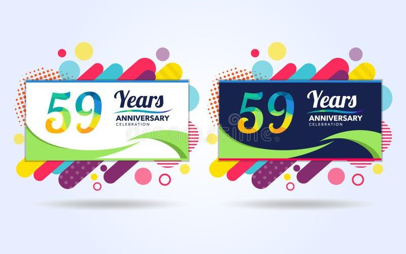 59 έτη σκάουν τα στοιχεία σύγχρονου σχεδίου επετείου, ζωηρόχρωμη έκδοση, σχέδιο προτύπων εορτασμού, λαϊκό σχέδιο προτύπων εορτασμ απεικόνιση αποθεμάτων