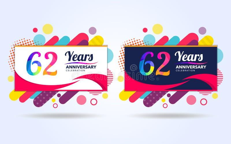 62 έτη σκάουν τα στοιχεία σύγχρονου σχεδίου επετείου, ζωηρόχρωμη έκδοση, σχέδιο προτύπων εορτασμού, λαϊκό σχέδιο προτύπων εορτασμ διανυσματική απεικόνιση