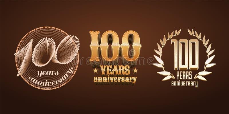 100 έτη συνόλου επετείου διανυσματικού λογότυπου, εικονίδιο, αριθμός απεικόνιση αποθεμάτων