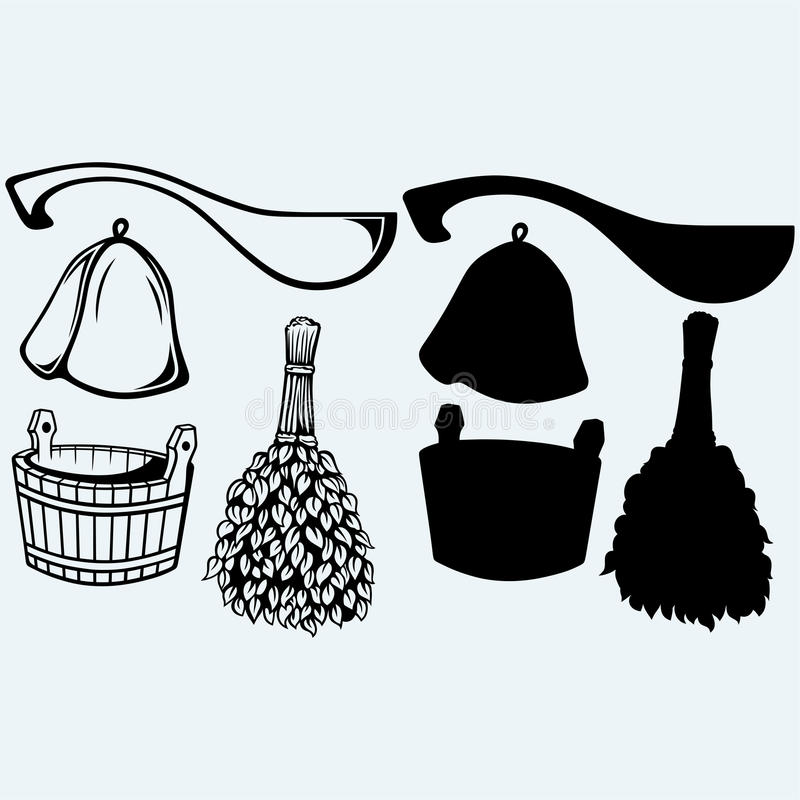 Έτοιμα εξαρτήματα σαουνών - σκούπα, κάδος, καπέλο και σέσουλα ελεύθερη απεικόνιση δικαιώματος