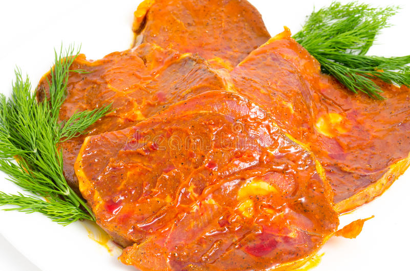 έτοιμες χοιρινό κρέας μπριζόλες τροφίμων στοκ εικόνα