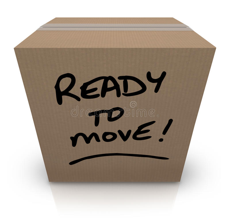 Έτοιμος να κινήσει την κινούμενη επαναμετάθεση κουτιών από χαρτόνι απεικόνιση αποθεμάτων