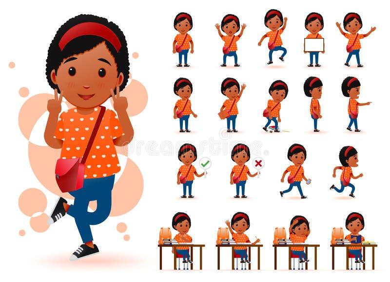 Έτοιμος να χρησιμοποιήσει λίγο χαρακτήρα σπουδαστών κοριτσιών μαύρων Αφρικανών με τις διαφορετικές εκφράσεις του προσώπου απεικόνιση αποθεμάτων
