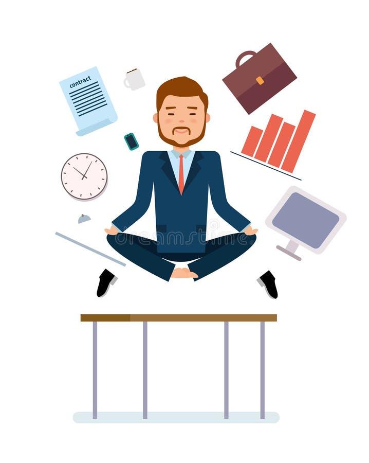 Έτοιμος να χρησιμοποιήσει το σύνολο δημιουργιών χαρακτήρα Επιχειρηματιών για να ανακουφίσει την κούραση από την εργασία ελεύθερη απεικόνιση δικαιώματος