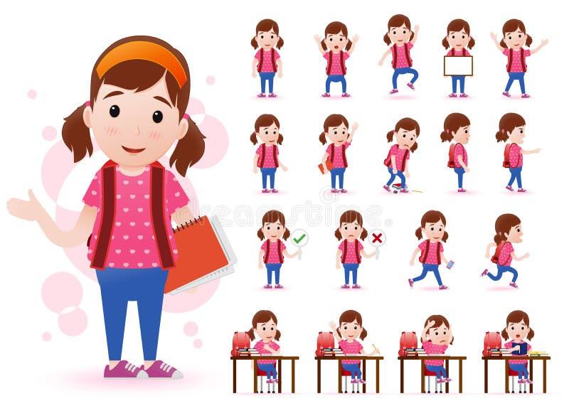 Έτοιμος να χρησιμοποιήσει το χαρακτήρα σπουδαστών μικρών κοριτσιών με τις διαφορετικές εκφράσεις του προσώπου ελεύθερη απεικόνιση δικαιώματος