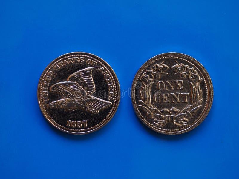 Έτος 1857 ενός σεντ πέρα από το μπλε στοκ εικόνα με δικαίωμα ελεύθερης χρήσης