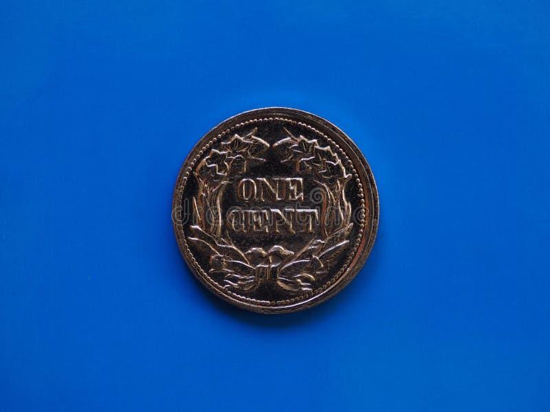 Έτος 1857 ενός σεντ πέρα από το μπλε στοκ εικόνα