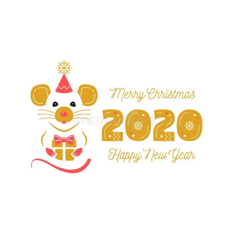 Έτος κινεζικό Zodiac αρουραίων 2020 Χαιρετισμοί καρτών Χριστουγέννων και καλής χρονιάς Χαριτωμένο έτος αρουραίων και ημερομηνίας  διανυσματική απεικόνιση