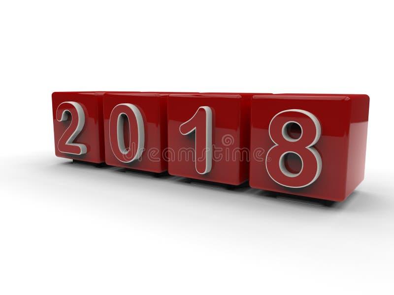 Έτος 2018 - κόκκινοι κύβοι προοπτικής διανυσματική απεικόνιση