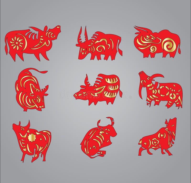 έτος προτύπων βοδιών αγελά διανυσματική απεικόνιση