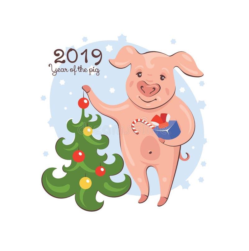 2019 έτος της ευχετήριας κάρτας χοίρων ελεύθερη απεικόνιση δικαιώματος