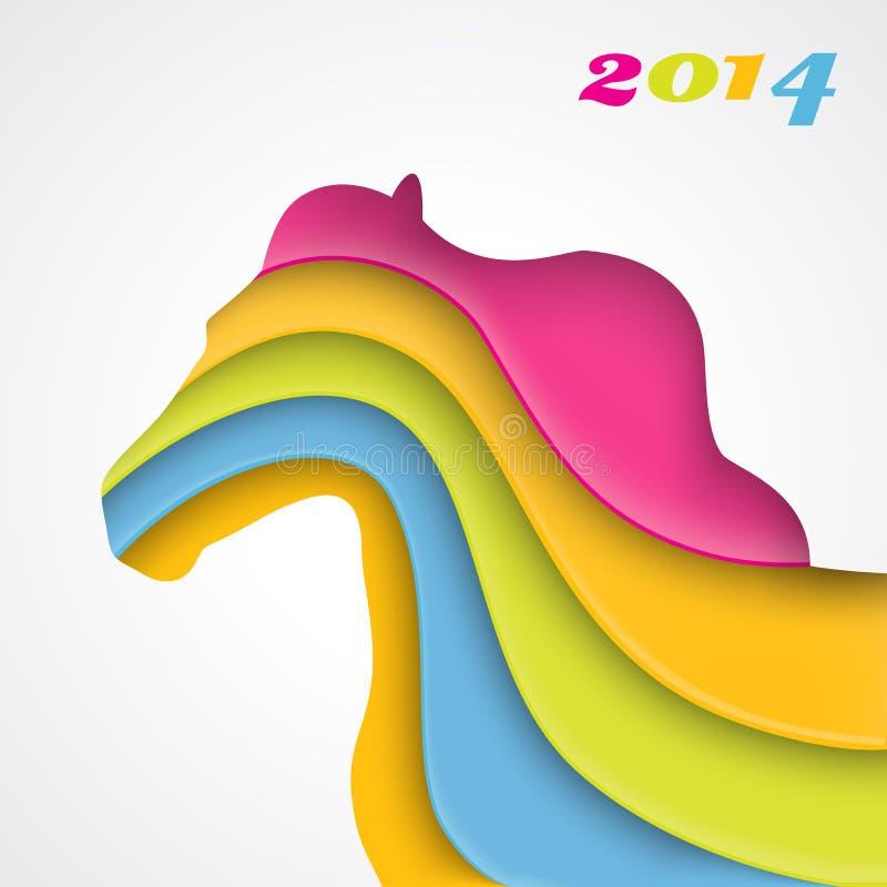 Έτος του αλόγου. Χριστούγεννα και νέα κάρτα έτους. απεικόνιση αποθεμάτων