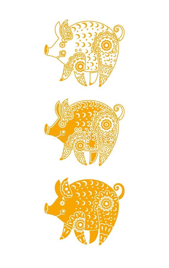 Έτος του κίτρινου χοίρου Διανυσματικό πρότυπο τρία τυποποιημένοι χοίροι με τη διακόσμηση ελεύθερη απεικόνιση δικαιώματος