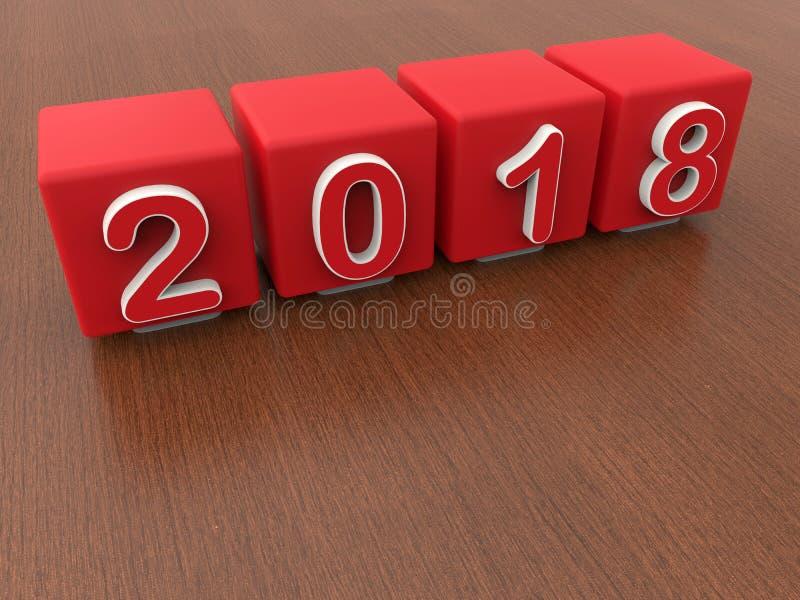 έτος του 2018 - κόκκινοι κύβοι διανυσματική απεικόνιση