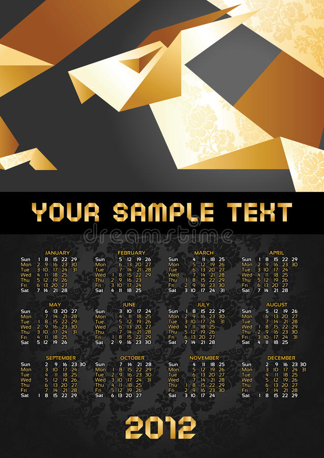 έτος origami ημερολογιακών δρά&ka διανυσματική απεικόνιση