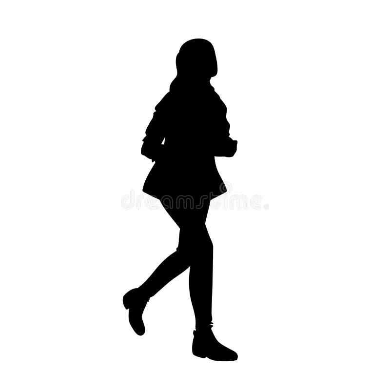 Έφηβη με το μακρυμάλλες τρέξιμο Μαύρη σκιαγραφία που απομονώνεται στο άσπρο υπόβαθρο r Διανυσματική απεικόνιση του κοριτσιού διανυσματική απεικόνιση