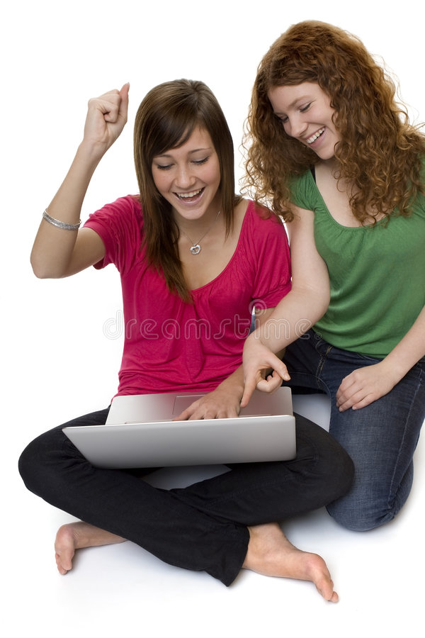 έφηβοι δύο lap-top υπολογιστών στοκ εικόνα